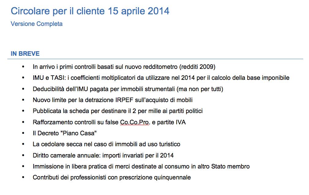 Circolare per il cliente 15 aprile 2014
