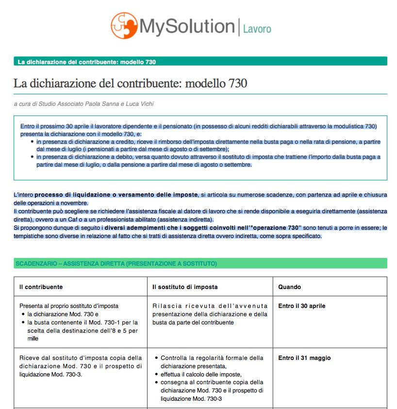 La dichiarazione del contribuente: modello 730